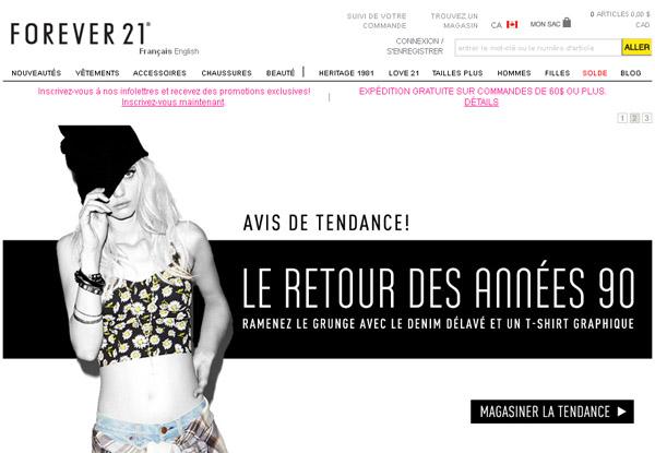 Forever 21 Boutique en ligne Circulaire